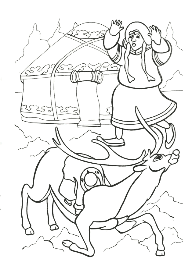 Олень Розмальовки Снігова Королева
