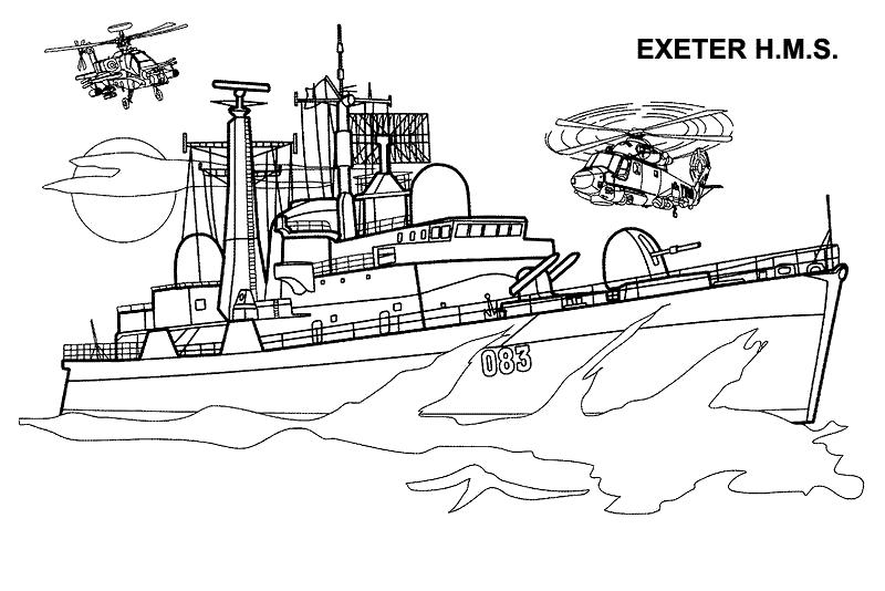 HMS Exeter - Британський важкий крейсер Розмальовки Військові кораблі