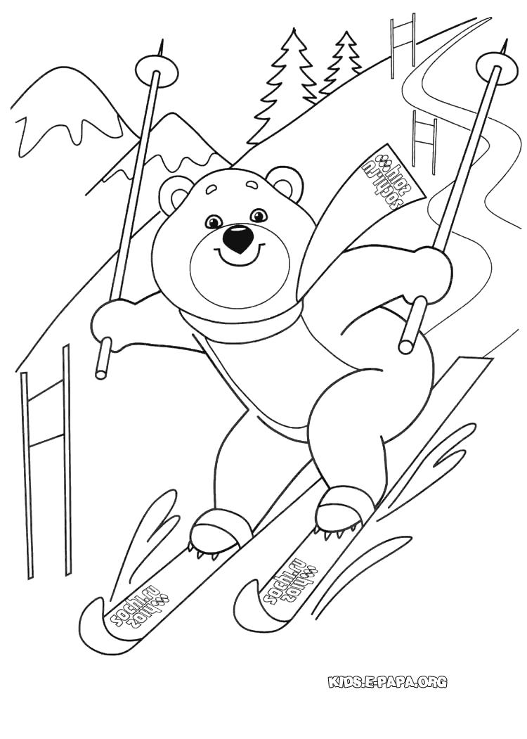 Білий Ведмедик Розмальовки Зимові Олімпійські ігри 2014