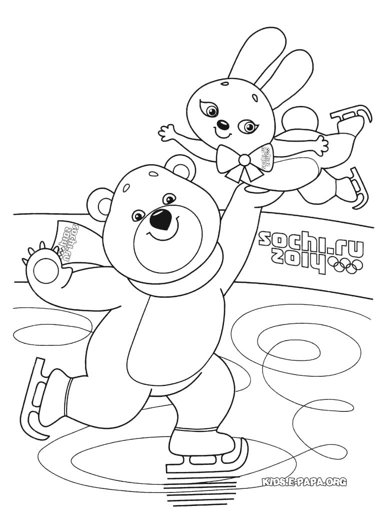 Ведмедик i Зайка Розмальовки Зимові Олімпійські ігри 2014